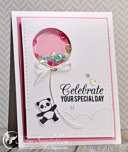 Stamps: My Favorite Things Party Balloons, Birthday Greetings, Mama Elephant Pandamonium Accessories: Pretty Pink Posh Springtime Mix and 4mm Sparkling Clear sequins, My Favorite Things Party Balloons die, Mama Elephant Landscape Trio die (the cloud border), Lil' Inkers Stitched Rectangle, etc...