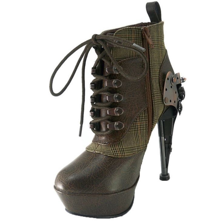 HADES Steampunk Goth Womens Ankle Boot Platform Laces Oxford Brown | Clothing, Shoes & Accessories, Women's Shoes, Boots | eBay!
