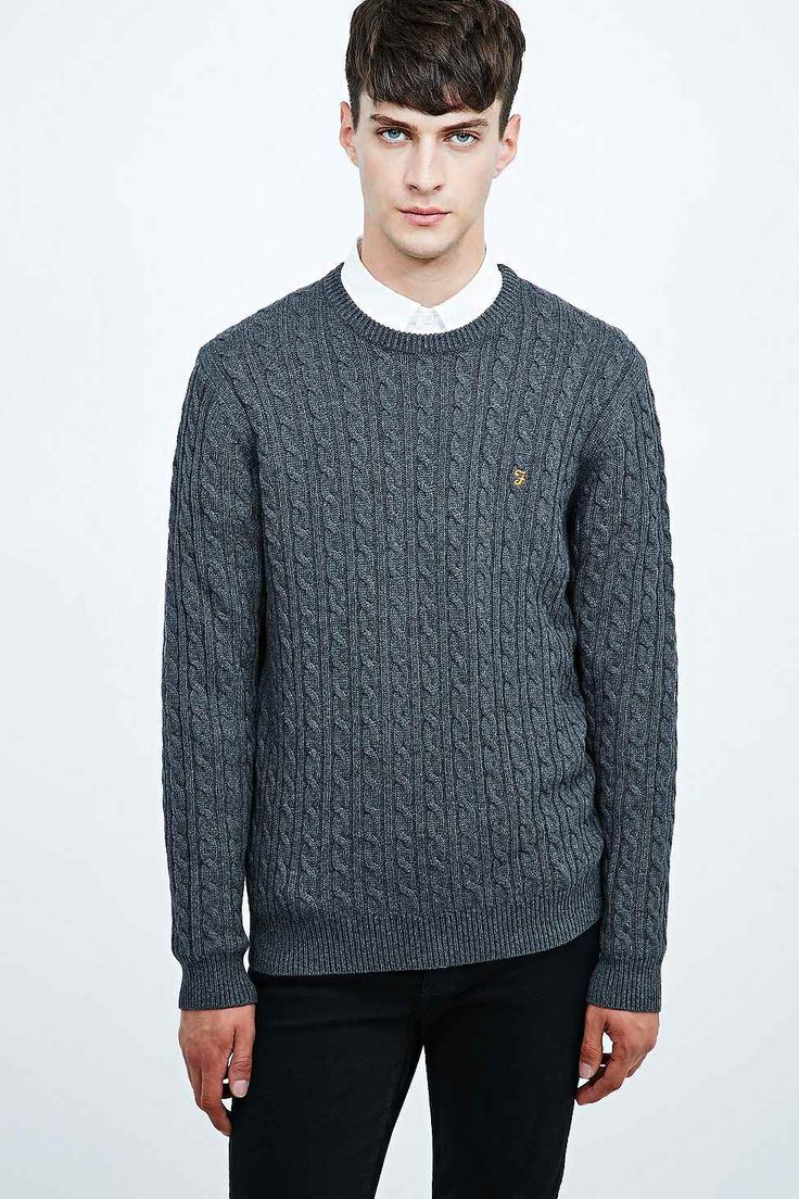 Farah Vintage Lewes Cable Knit Jumper in Charcoal