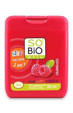 Dla starszaków. Żel pod prysznic i do kąpieli z malinową nutą zapachową SO'BIO etic.
