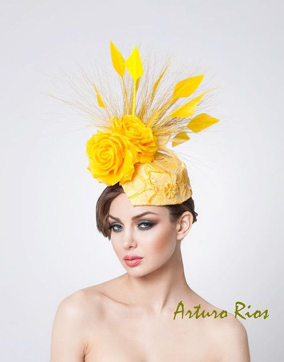 Yellow fascinator Kentucky derby hat Headpiece от ArturoRios, $210.00