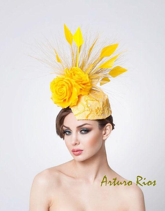 Yellow fascinator Kentucky derby hat Headpiece by ArturoRios, $196.00