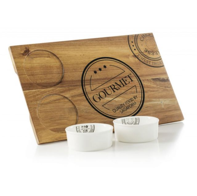 Zestaw prezentowy - deska do krojenia/serwowania + 2 miseczki na przekąski Sagaform 5003409