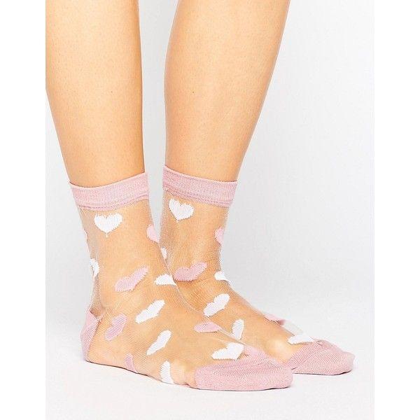 ASOS Valentines Sheer Heart Socks (81.965 IDR) ❤ liked on Polyvore featuring intimates, hosiery, socks, pink, embroidered socks, ankle high socks, heart socks, ankle high hosiery and see through socks