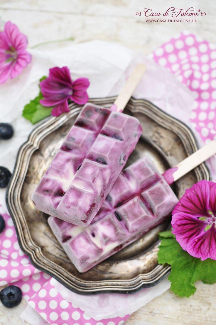 Heidelbeer-Joghurt-Eis am Stiel {Rezept} I Casa di Falcone