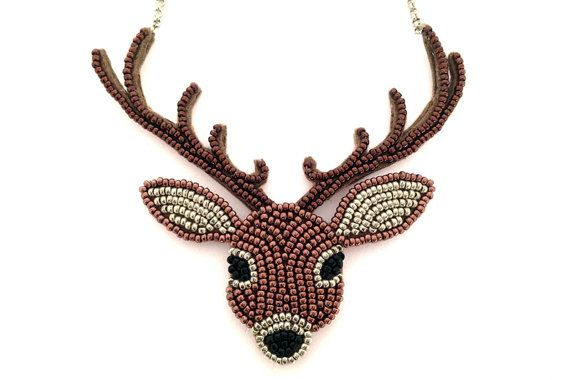 Deer necklace Bead embroidery by LeChatBijoute on Etsy