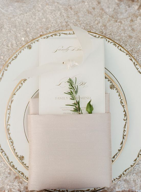Elegant champagne place setting | Inspiration Board: Champagne | SouthBound Bride | http://www.southboundbride.com/inspiration-board-champagne | Credit: Sylvie Gil/Bliss Event Productions via Magnolia Rouge
