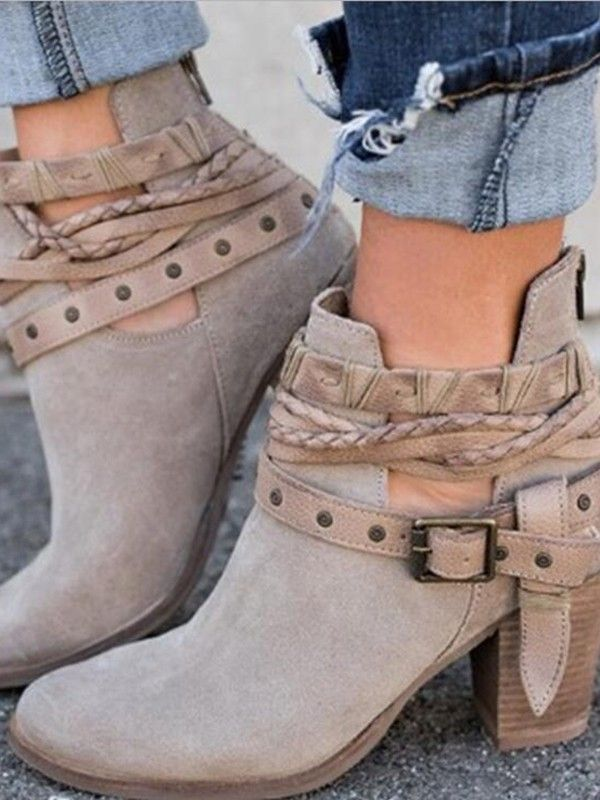 d762c4e0426 Grey Round Toe Chunky Fashion Ankle Boots   shoes in 2019   Chunky ...