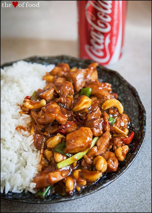 {cola chili chicken} an intriguing Asian stir-fry consisting of chicken, cashews, chili, garlic, ginger, spring onions, soy + the key ingredient, coca cola.