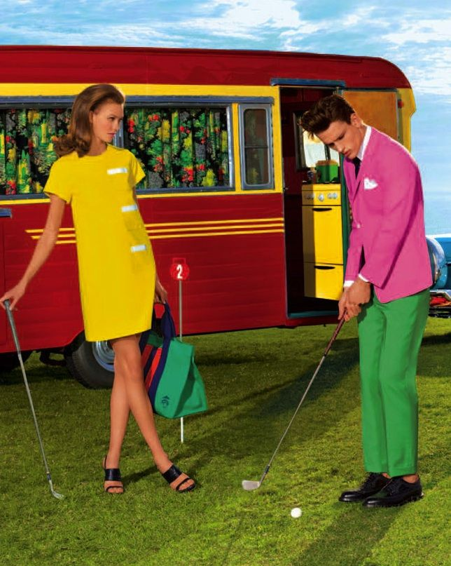 color: Simon Nessman, Karlie Kloss, Brooks Brother, Kelly Green, Americana Manhasset, The Dresses, Carboxylic Block, Green Pants, Vintage Campers
