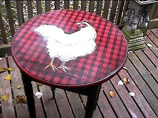 Original hand painted whimsical chicken table with plaid background. Painted with love by artist, L. Costello Hinchey.