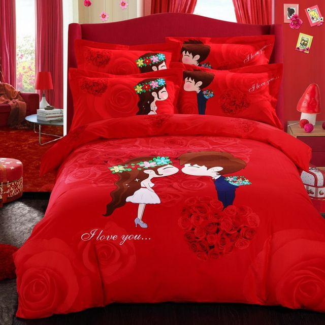 Algodão vermelho lixa grossa de alta qualidade denim algodão quatro conjuntos de casamento roupa de cama colcha de outono e inverno curto pelúcia