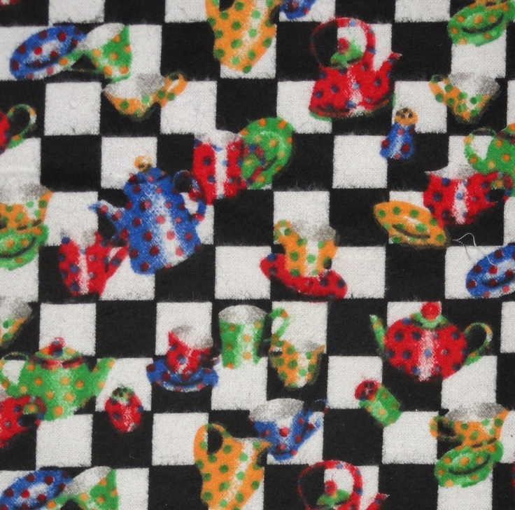 Flannel Black White Checkered Tea Pots Coffee Cups Saucers