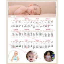 Üstte yatay büyük boy bir fotoğraf ve alta 3 adet  küçük resim ile hazırlanmış 2015 bebek takvimi.