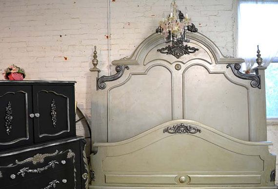 Painted Cottage Shabby  French Silver Slipper Bed  Romantic  Bed on Etsy