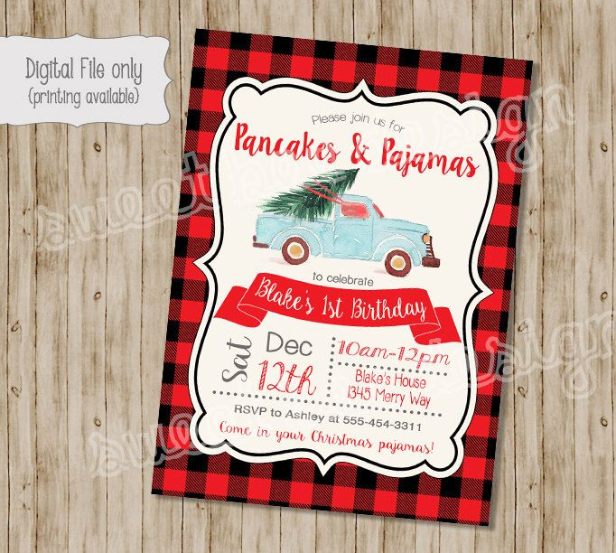 Christmas Birthday Invitation, Pancakes and Pajamas Birthday Invitation, Winter…