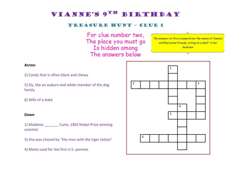 Birthday Treasure Hunt Clue 1 #Treasure #Hunt #Treasurehunt #Clue01
