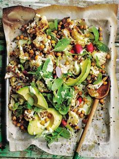 Dukkah Roasted Cauliflower Salad with Creamy Avocado Dressing - minus yoghurt. Or sub w cashew yoghurt