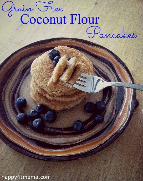 Grain Free Coconut Flour Pancakes | recipe | low in sugar | breakfast | kitchen | HappyFitMama.com