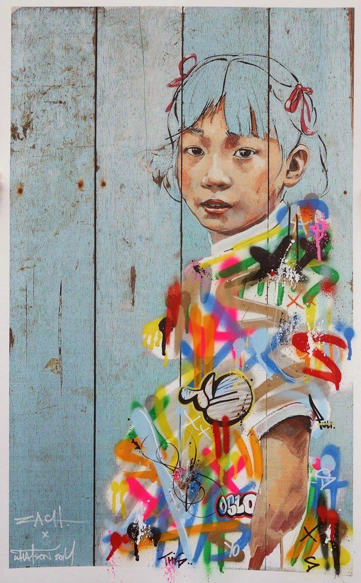Lila and Cloe: Street Art by Ernest Zacharevic {ZACH street art}