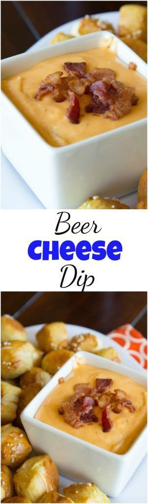 Beer Cheese Dip - Warm cheddar cheese dip made with plenty of bacon and beer! Great for dipping soft pretzels, chips or just about anything! #cheese #dip #food #recipe #footballfood #superbowlparty #beercheese #appetizer #cheesy