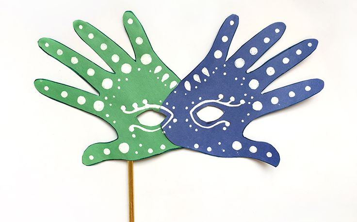 Make a unique handprint mask for Mardi Gras and Carnival with this fun tutorial. It's easy and quick, and uses materials you already have on hand.
