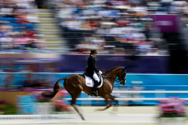 Karen O'Conner of the United States competes with her horse Mr Medicott in the equestrian eventing dressage competition during the equestrian eventing dressage competition at Greenwich Park, the site for the equestrian and modern pentathlon events at the 2012 Summer Olympics, Saturday, July 28, 2012, in London. Photo: Markus Schreiber / AP
