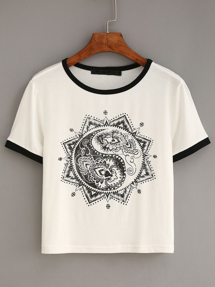 White Contrast Trim Vintage Print T-shirt
