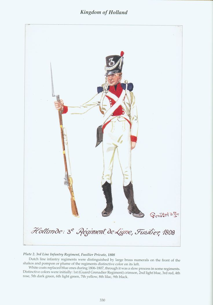 Kingdom of Holland: Plate 2. 3rd Line Infantry Regiment, Fusilier Private, 1808