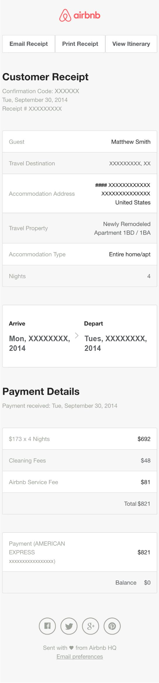 Receipt Email Design from AirBNB