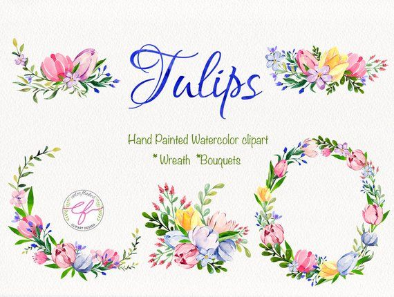 Tulips Watercolor Clipart Tulip Wreath Clipart Floral Bouquets