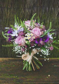 rustic wild purple wedding bouquets