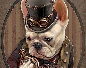 Emerson de Franse Bulldog Art Gentleman Victoriaanse Steampunk Goggle Pocketwatch originele illustratie portret Print-4 maten
