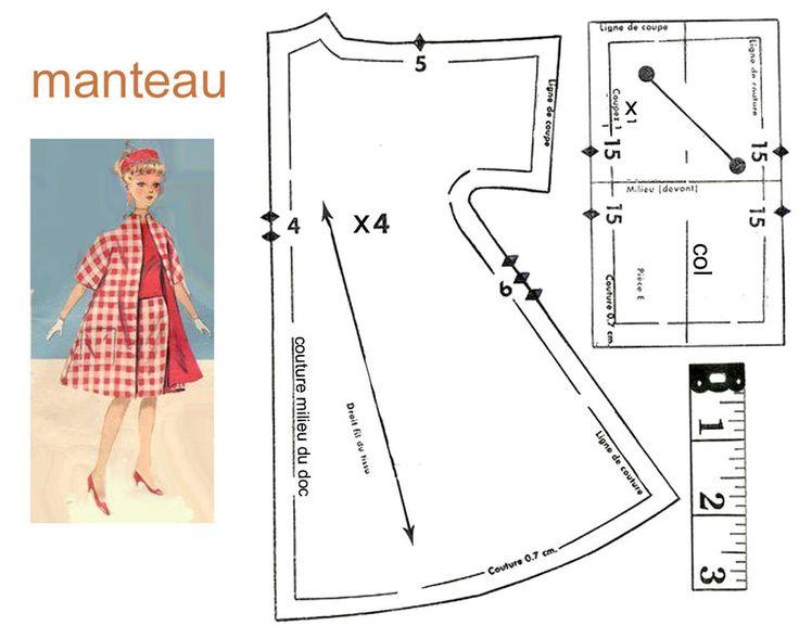 Barbie coat sewing pattern
