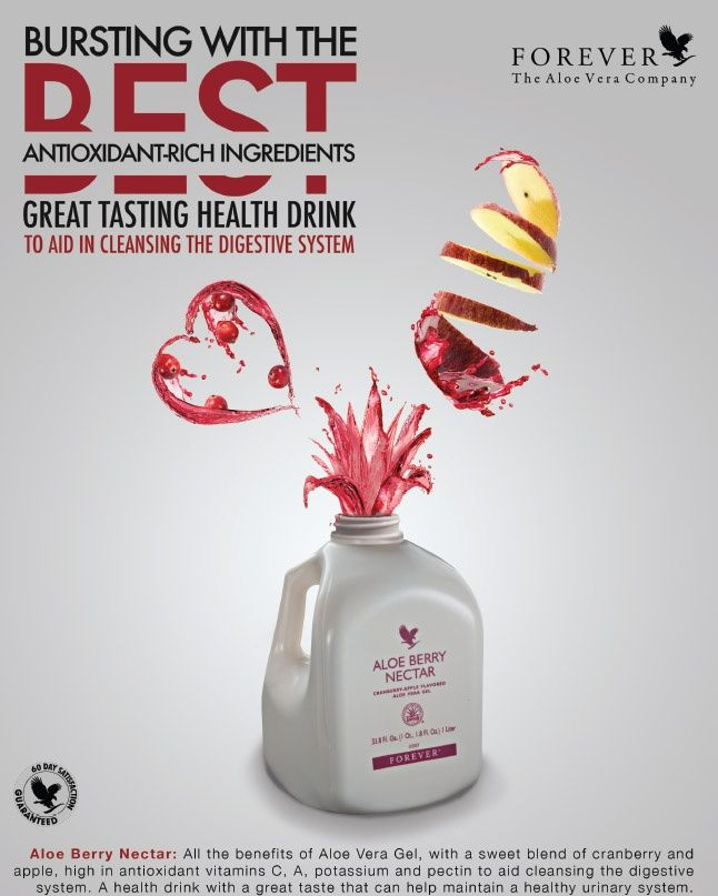 Aloe Berry Nectar contains all of the vitamins, minerals, amino acids and enzymes found in our Aloe Vera Gel, plus the added benefits of cranberry and apple.  Besides their reputation as a cleanser for the urinary tract, cranberries provide a high content of vitamin C. They are also a natural source of pycnogenol, a powerful antioxidant that is particularly useful in maintaining collagen.