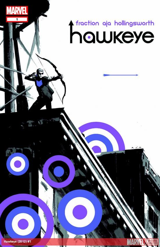 Cover to Hawkeye #1, drawn by David Aja.