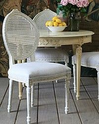 Eloquence Louis Cane Chair Antique White-vintage, shabby chic, linen,furniture,swedish