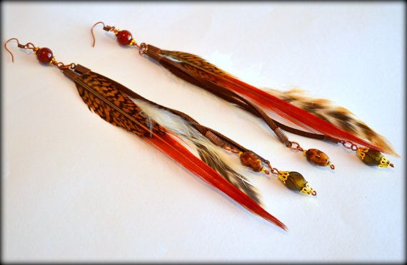 Feather Earrings Brown Feather Earrings by MarianaHandmade on Etsy, $24.00