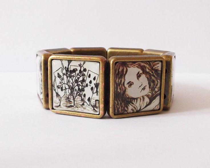 Commemorative 'Alice's Adventures Under Ground' Antique Bronze Effect Elasticated Bracelet (7.50 GBP) by LittleMissMadeIt