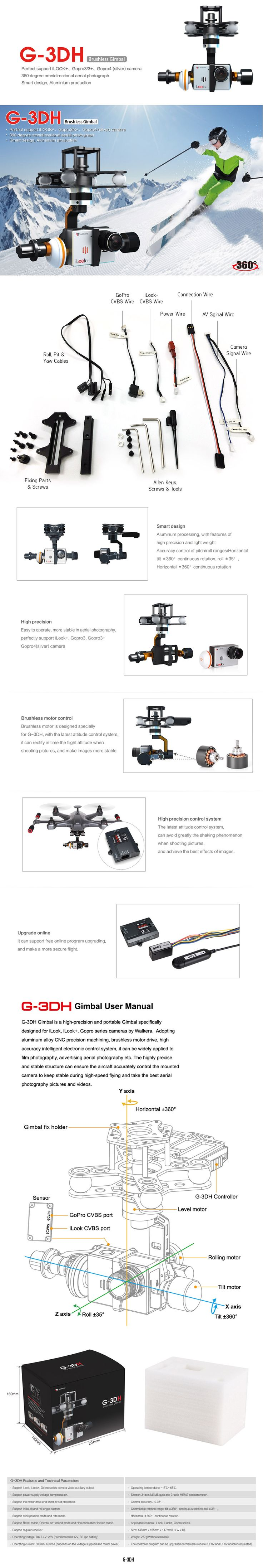 [Support iLook+/GoPro3/3+, GoPro4 (Silver) camera] WALKERA G-3DH 3-Axis Brushless Camera Gimbal With 360 degree omnidirectional aerial video photography. For pricing & info, pls see http://shop.rotor.com.sg/show-detail.asp?prodid=%7BC0E7C11C-D0A9-4F55-9DE4-35547D98C50A%7D&pn=#.VSjg8PmUd5d