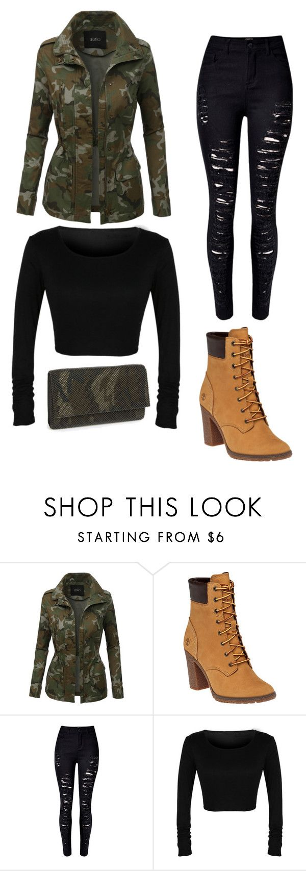 """""""Rita Ore"""" by mag11rich ❤ liked on Polyvore featuring LE3NO, Timberland and La Regale"""