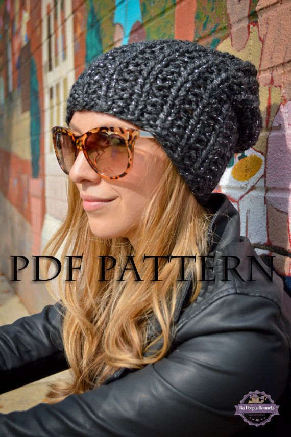 DIY KNITTING PATTERN Slouchy Beanie Pattern Knit Slouch Hat Pattern Slouch Beanie Knitting Pattern Grunge Hipster Hippie Beanie Knit Pattern www.etsy.com/shop/BoPeepsBonnets