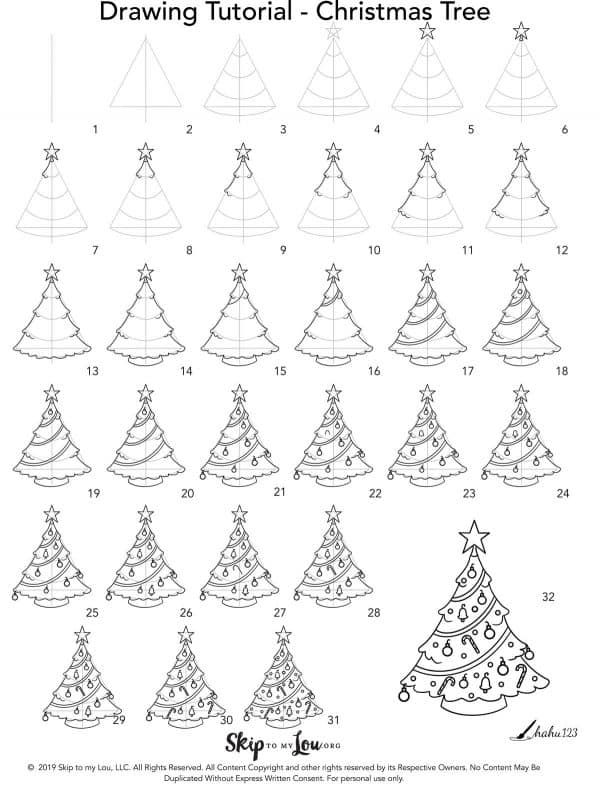 Step By Step How To Draw A Christmas Tree Christmas Tree Drawing