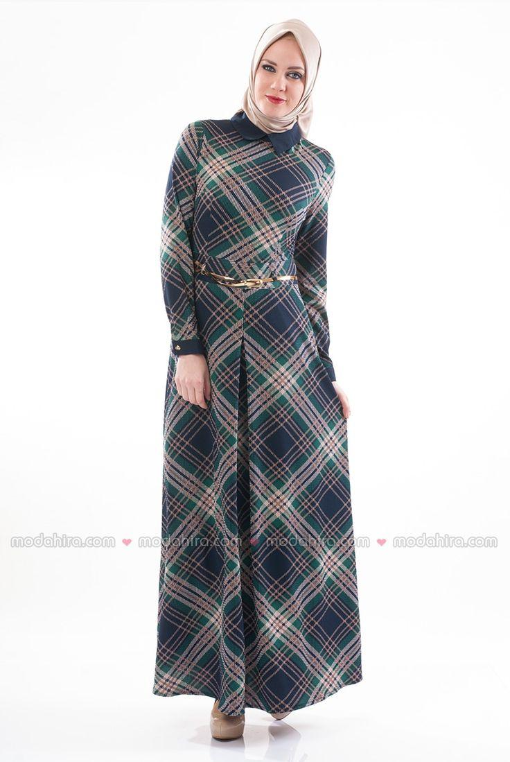 Desenli Kışlık Yeşil Elbise - 5271-02