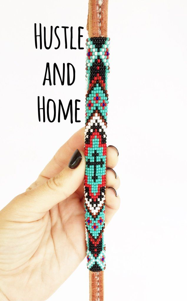 Western Horse Barrel Racing Leather Over and Under whip w// Turquoise Beading
