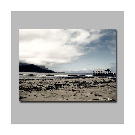 Hanalei Bay Kauai beach canvas print photography. by NakedEyes