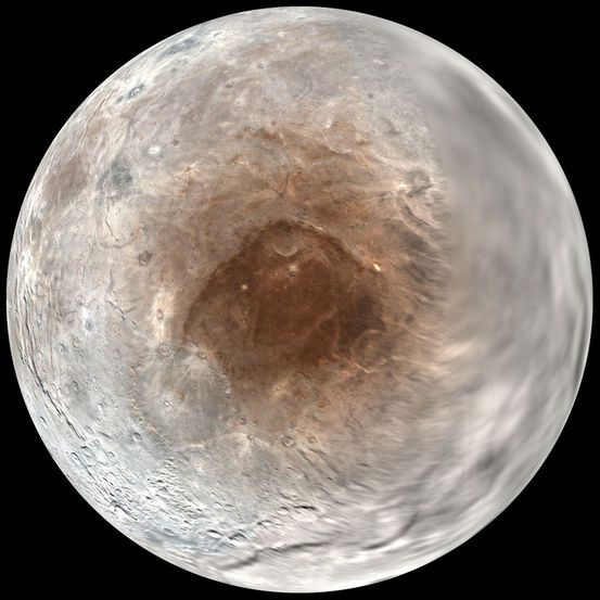 Strange red spot- Closer to home, a big red spot festoons the north pole of Charon, Pluto's largest moon. In September, researchers announced that they'd figured out where this colorful blemish comes from: Pluto's atmosphere