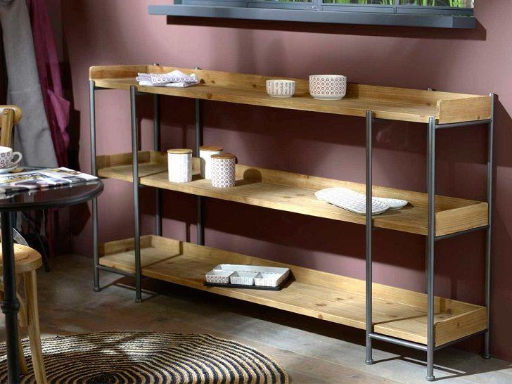 Table console ROLL Amadeus avec étagères en bois et métal