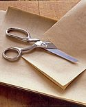 Sharpen dull scissors or pinking shears. Cut through a sheet of aluminum foil that has been folded over for double thickness; they should regain some of their sharpness.Use Sandpaper: fold extra-fine-grain sandpaper, with grain facing out on both sides. Then make several clean cuts until it feels the blades have reached the desired sharpness. Wipe blades with dry cloth then use.