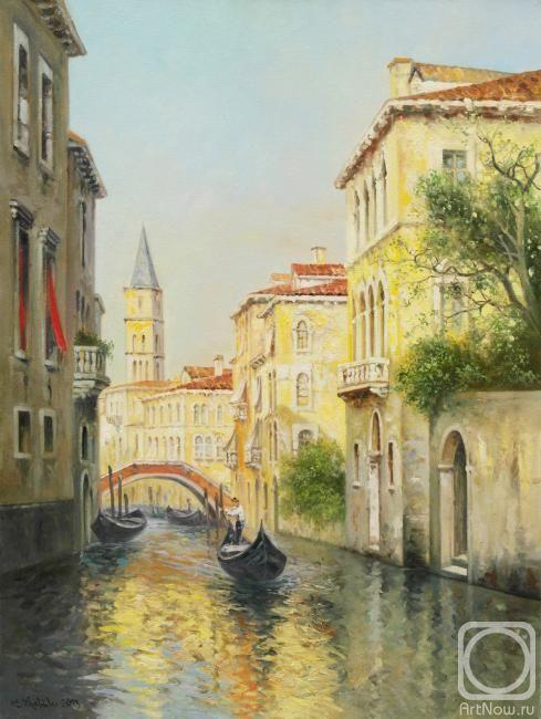 Венецианский канал с гондолами (489x650, 248Kb)